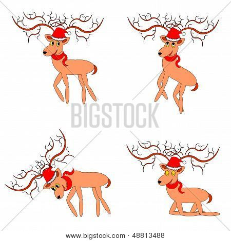 Funny Christmas Deers On A White Background