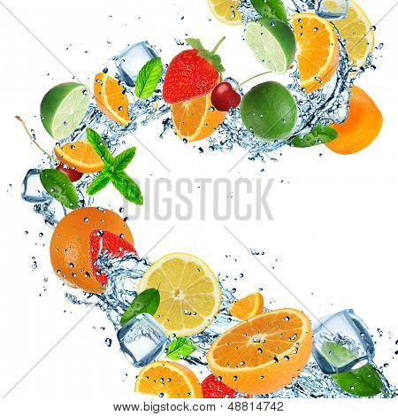 Fresh fruits with water splashes on white background