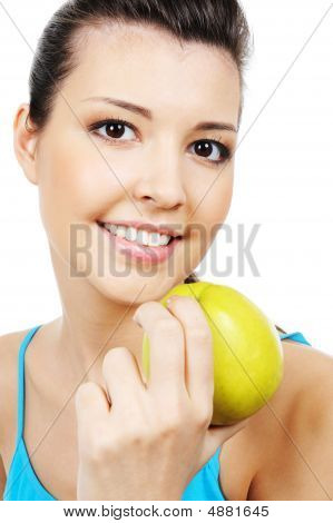 Beauty Woman And Green Sweet Apple