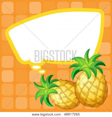 Illustration of a paper note with pineapples having an empty callout