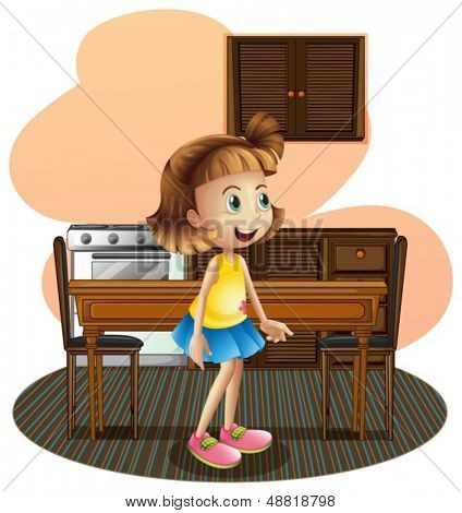 Illustration of a little girl in the kitchen wearing a blue skirt on a white background