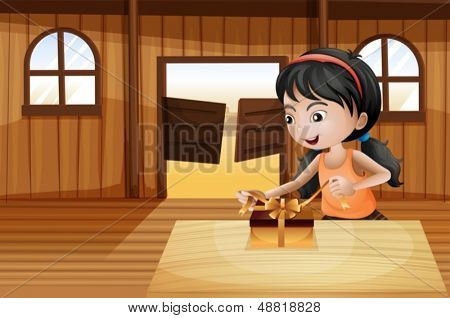 Illustration of a girl unwrapping a gift above the table in the saloon bar