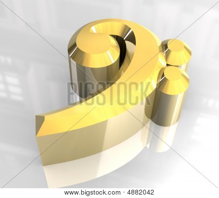 Music Bass Key Symbol In Gold - 3D