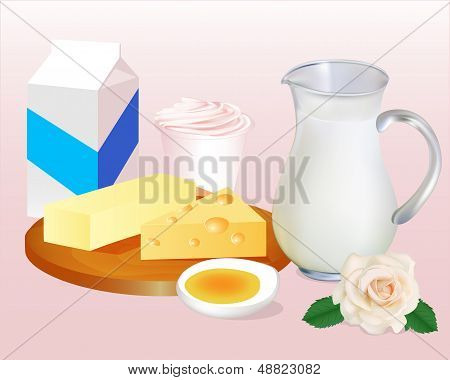 Background With Milk Butter Cheese, Eggs And Yoghurt