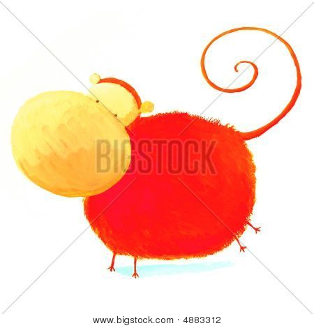 Abstract Red Monkey