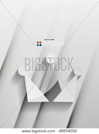Vector coroa 3d papel design moderno