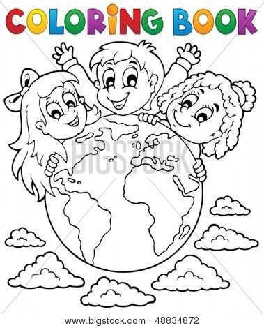 Coloring book kids theme 2 - eps10 vector illustration.