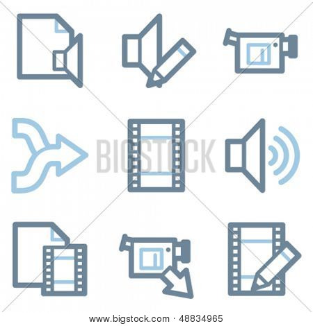 Audio video edit icons, blue line contour series