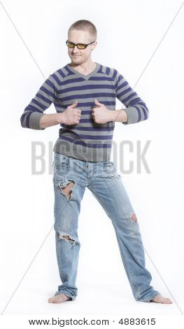 Happy Man In Old Jeans