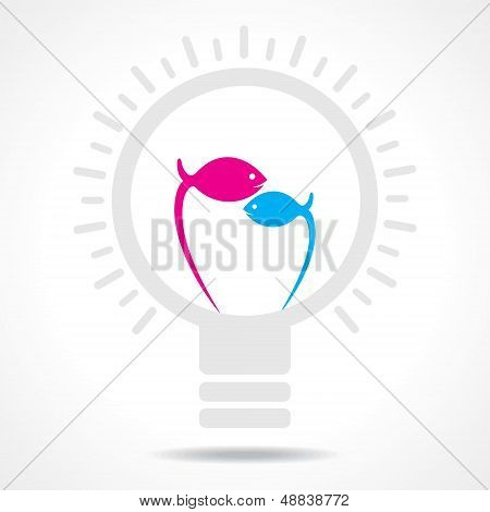 Blue and pink fish make filament of  an electric light bulb