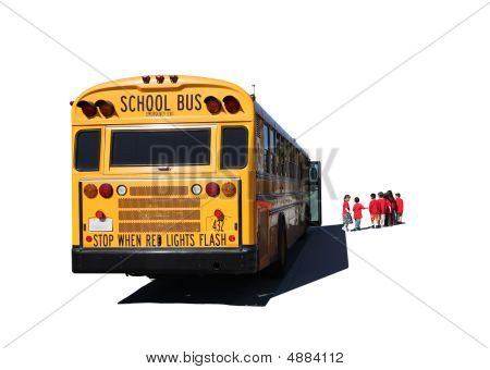 School Aged Children Departing A School Bus