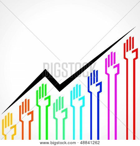 Business graph made by colorful hand icons
