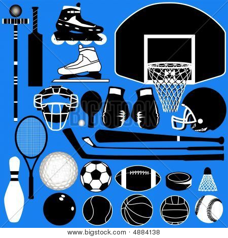 Sports Equipment Silhouettes