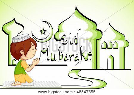Muslim offering namaaz for Eid