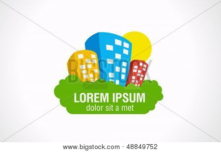Real estate complex logo design template. Architecture abstract. Realty theme icon. Vector.