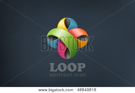 Flower Abstract geloopt Logo Design Templ. Spaß, Event, feiern Symbol. Bunte Schleife kreatives Design.