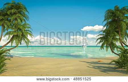 Idyllic Caribean Beach View Copy Space