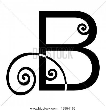 ornamental letter B isolated on white background