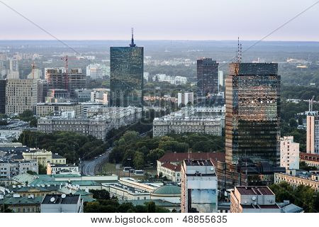 Panorama Of Warszawa City During Sundown