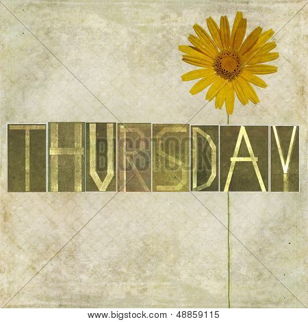 "Earthy texture background and design element depicting the word ""Thursday"""