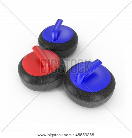 Curling Stones With Red And Blue Handle Isolated On White
