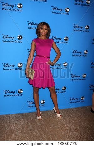 LOS ANGELES - AUG 4:  Toks Olagundoye arrives at the ABC Summer 2013 TCA Party at the Beverly Hilton Hotel on August 4, 2013 in Beverly Hills, CA
