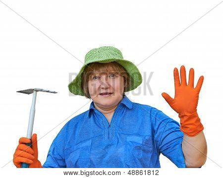 Senior Woman In Gloves With Garden Tools