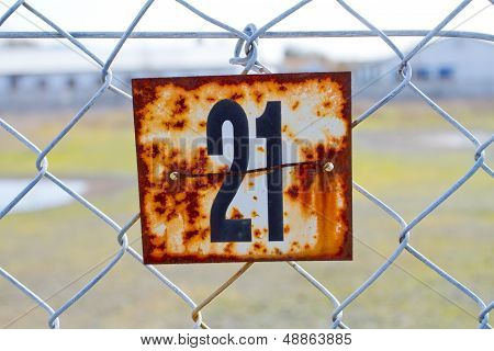 Number 21 Rusted Sign