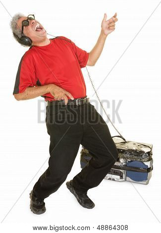 Happy Man Playing Air Guitar