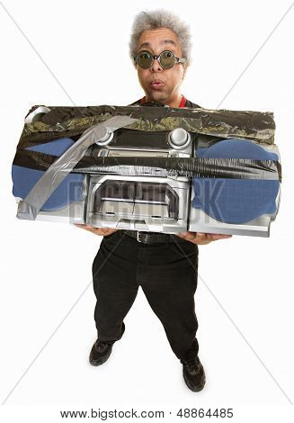 Overwhelmed Man With Radio