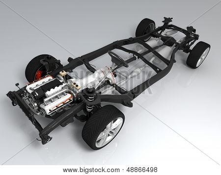 The mechanism of the car on a white background.