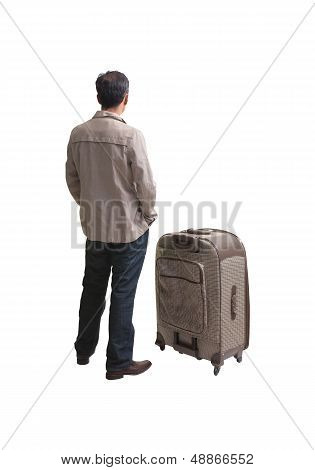 back of man standing with big suit case isolated white