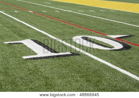 10 yard line on American Football field