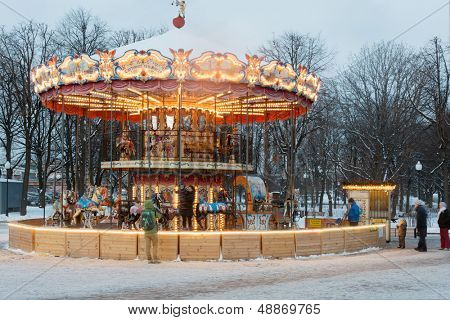 MOSCOW - DEC 9: Carousel with horses in Central Park of Culture and Rest named after Maxim Gorky December 9, 2012 in Moscow, Russia.