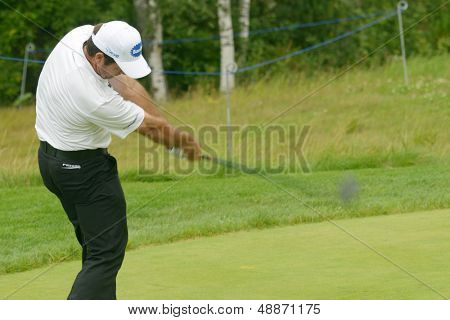 MOSCOW, RUSSIA - JULY 27: Scott Hend of Australia in action during 3rd round of the M2M Russian Open at Tseleevo Golf & Polo Club in Moscow, Russia on July 27, 2013