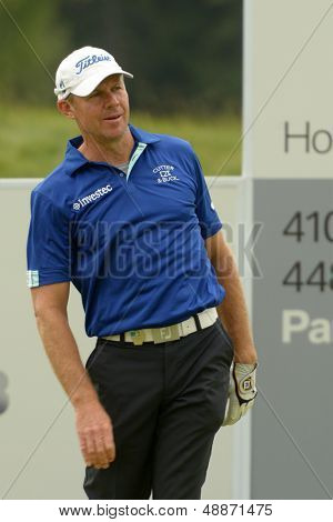 MOSCOW, RUSSIA - JULY 28: James Kingston of South Africa during final round of the M2M Russian Open at Tseleevo Golf & Polo Club in Moscow, Russia on July 28, 2013