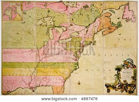 Antique Map Of French And British Dominions In North America