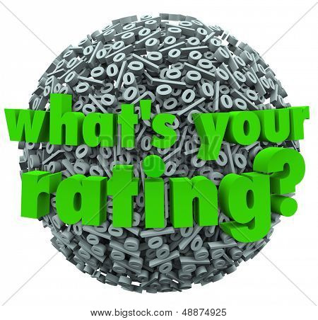 The question What's Your Rating on a ball or sphere of percent or percentage signs or symbols
