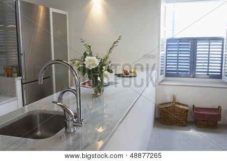 Interior of kitchen in contemporary house