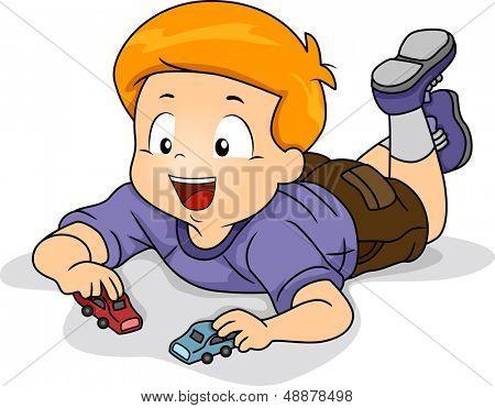 Illustration of Kid Boy Playing Toy Car