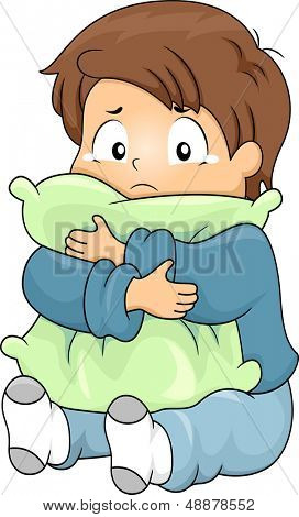 Illustration of Kid Boy Crying while Hugging a Pillow