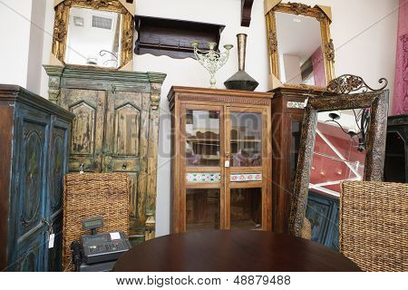 Interior of used furniture store