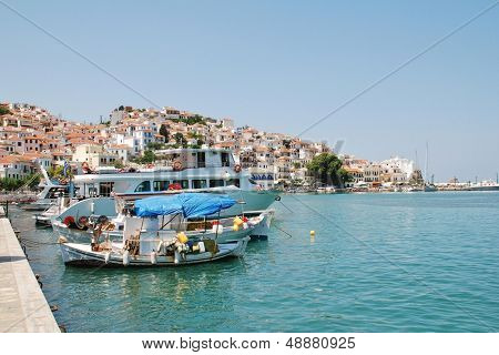 SKOPELOS, GREECE - JUNE 24: Boats moored in the harbour at Skopelos Town on June 24, 2013 on Skopelos island, Greece. The island was the location for the 2008 film Mamma Mia.