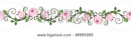Vintage horizontal seamless vignettes with pink rose buds. Vector illustration.