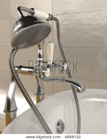 Classic Roll Top Bath And Taps With Shower Attatchment In Contem