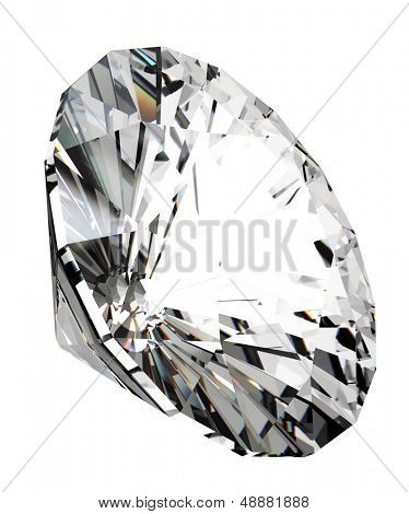 3d render of beautiful diamond, over white background