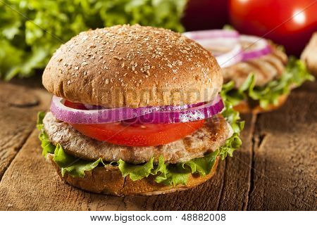 Homemade Turkey Burger On A Bun