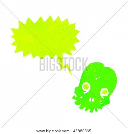 retro cartoon shrieking green skull