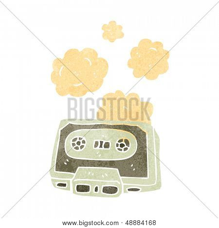 retro cartoon dusty old cassette tape