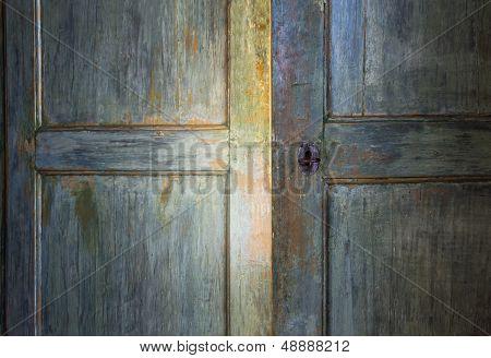 Green Antique Wooden Door
